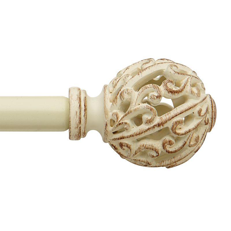 Bali Open Scroll Decorative Curtain Rod. White. 48-84