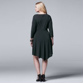 Plus Size Simply Vera Vera Wang Black Faux-Wrap Dress