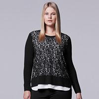 Plus Size Simply Vera Vera Wang Lace Crewneck Top
