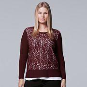 Plus Size Simply Vera Vera Wang Lace Crewneck Top