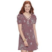 Juniors' Love Fire Cross Front Swing Dress