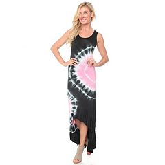 Women's White Mark Tie-Dye High-Low Maxi Dress