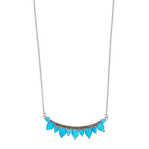 Tori Hill Simulated Blue Opal & Marcasite Curved Bar Necklace