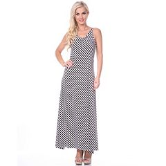 Women's White Mark Striped Maxi Dress