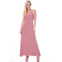 Women's White Mark Striped Maxi Dress
