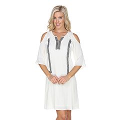 Women's White Mark Embroidered Cold-Shoulder Dress