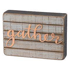 Farmhouse 'Gather' Box Sign Art Wall Decor