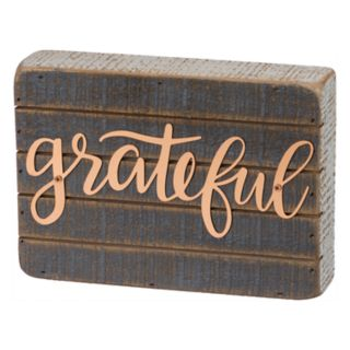 "Farmhouse ""Grateful"" Box Sign Art Wall Decor"