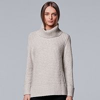 Petite Simply Vera Vera Wang Metallic Turtleneck Sweater