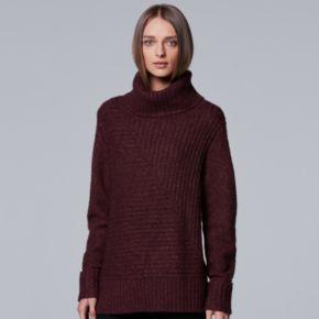Petite Simply Vera Vera Wang Metallic Turtleneck Sweater