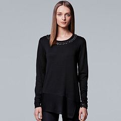 Petite Simply Vera Vera Wang Asymmetrical Embellished Sweater
