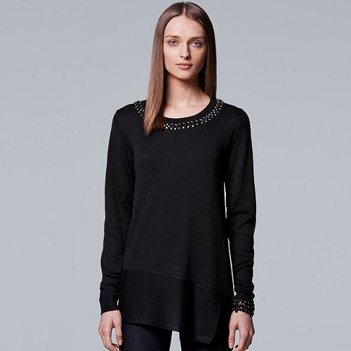 Petite Simply Vera Vera Wang Asymmetrical Embellished Sweater