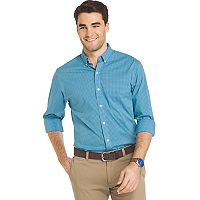 Men's IZOD Advantage Sportflex Regular-Fit Gingham-Checked Stretch Button-Down Shirt
