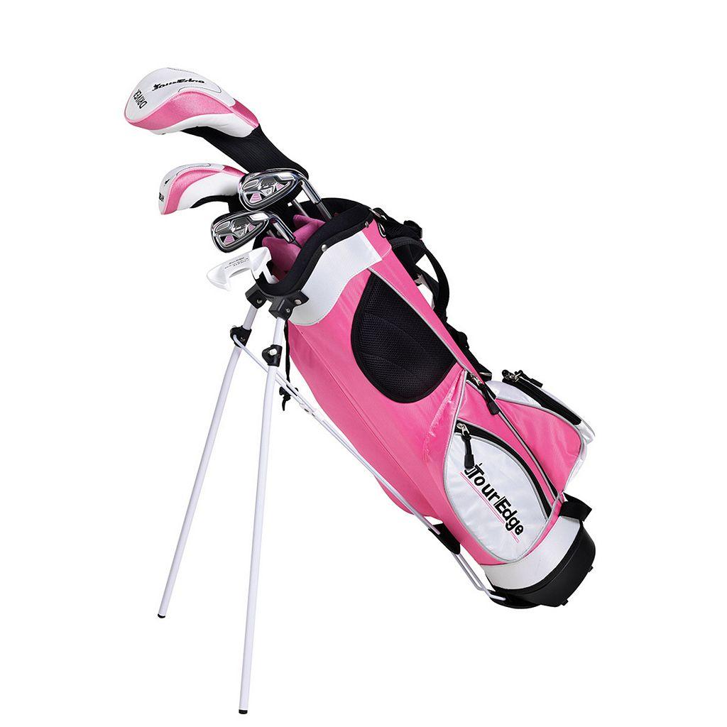 Girls Age 5-8 Tour Edge HT Max-J Junior Right Hand 4x1 Pink Golf Club & Bag Set
