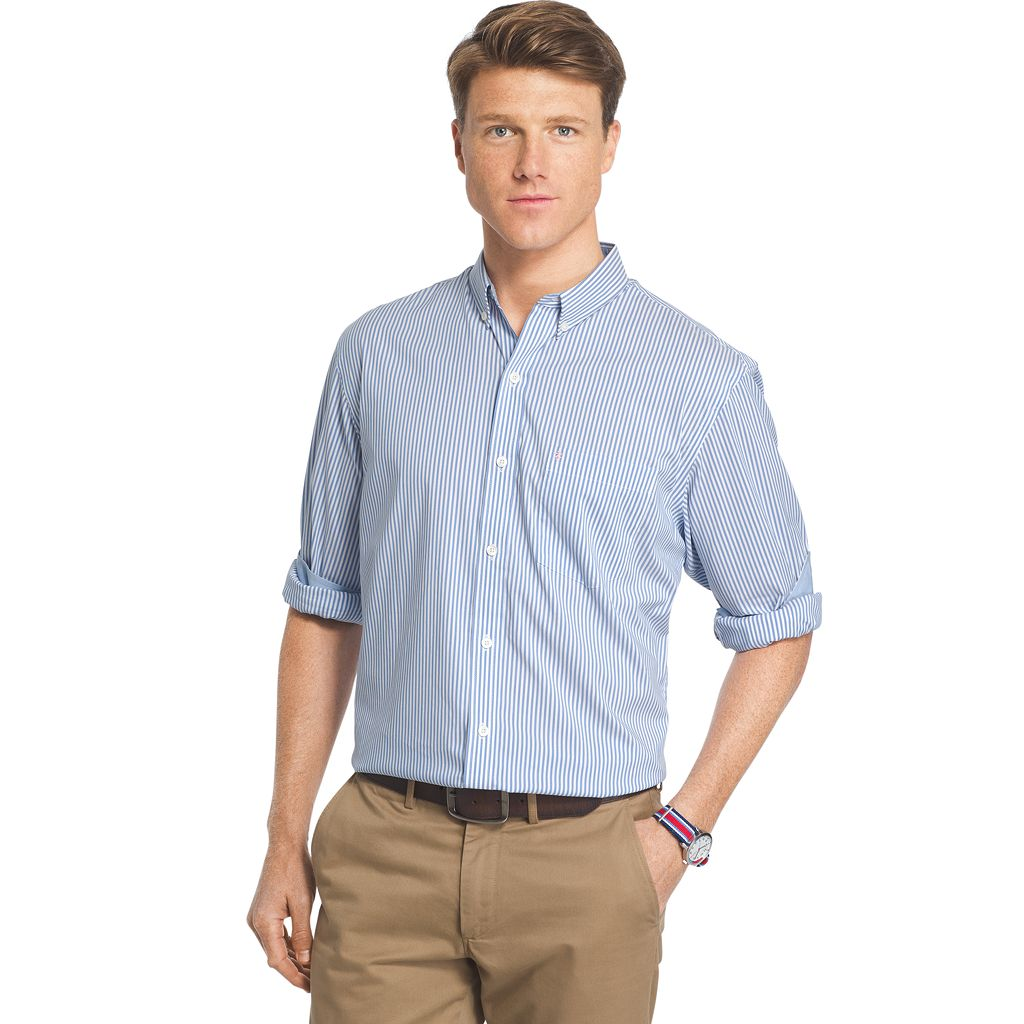 Men's IZOD Advantage Sportflex Striped Regular-Fit Stretch Button-Down Shirt
