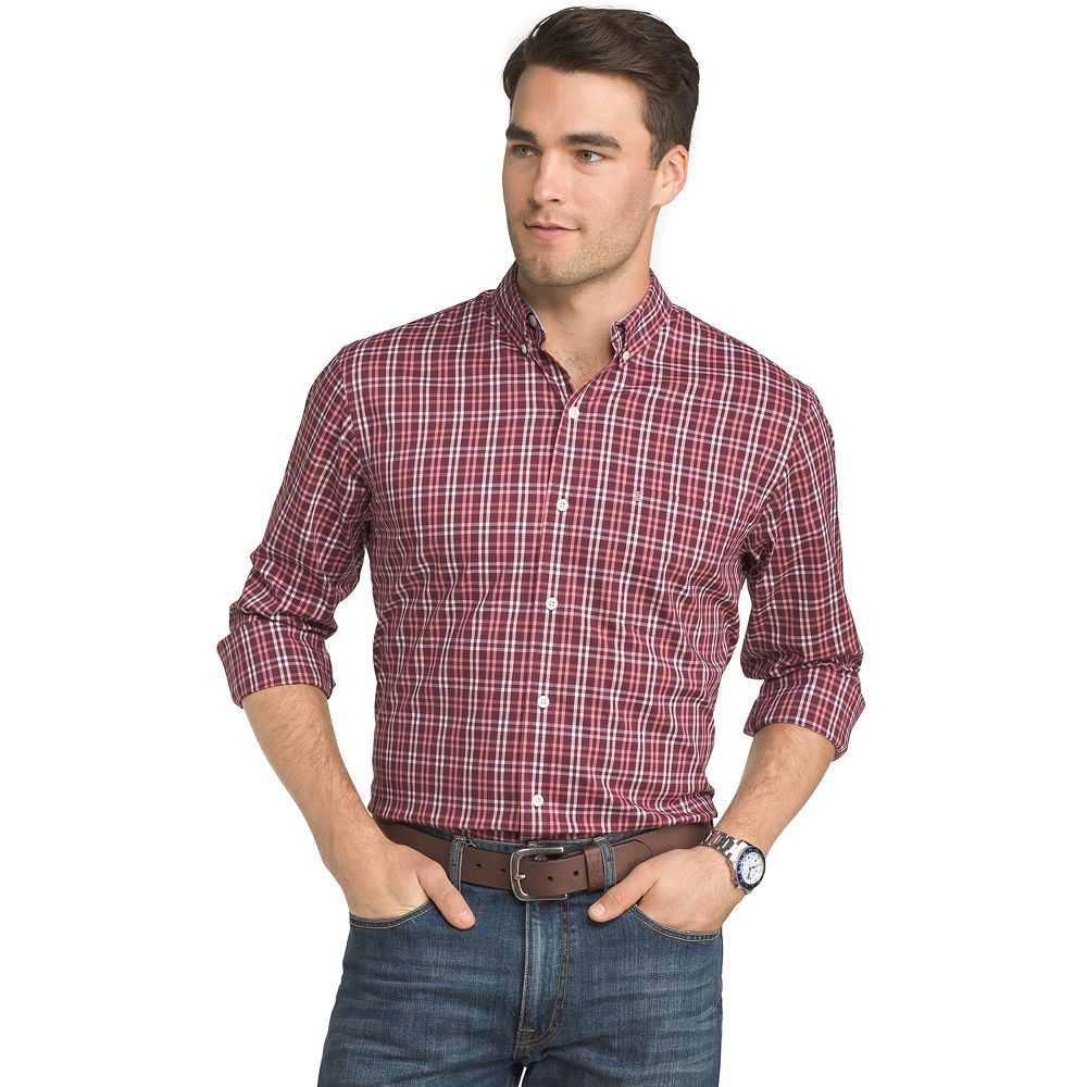 IZOD Advantage Sportflex Plaid Regular-Fit Stretch Button-Down Shirt