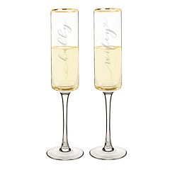 Cathy's Concepts 2-pc. Hubby & Wifey Gold Rim Champagne Flute Set