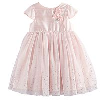 Toddler Girl Marmellata Classics 3D Rosette Satin & Foiled Dot Tulle Dress