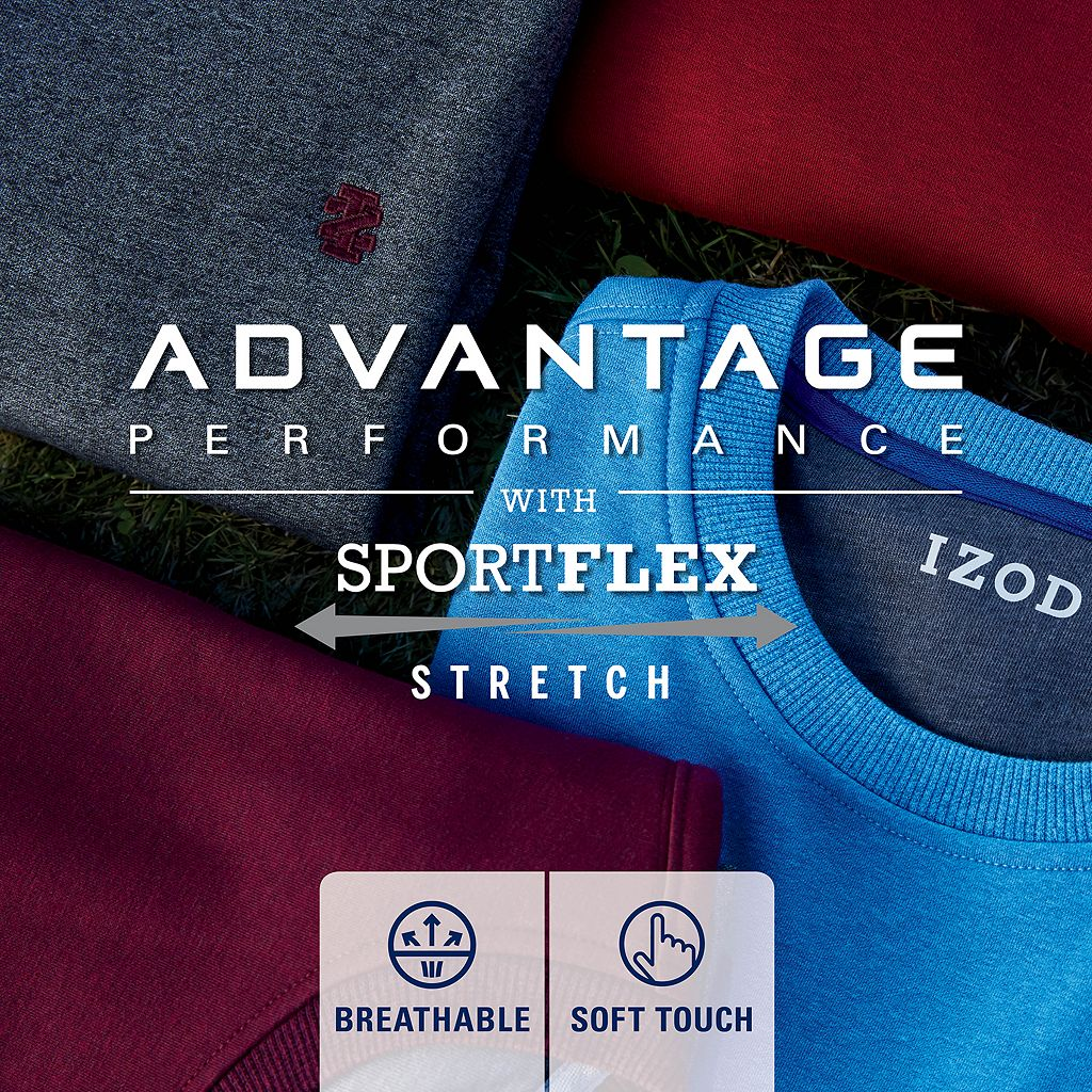 Men's IZOD Advantage Sportflex Regular-Fit Solid Performance Fleece Sweatshirt