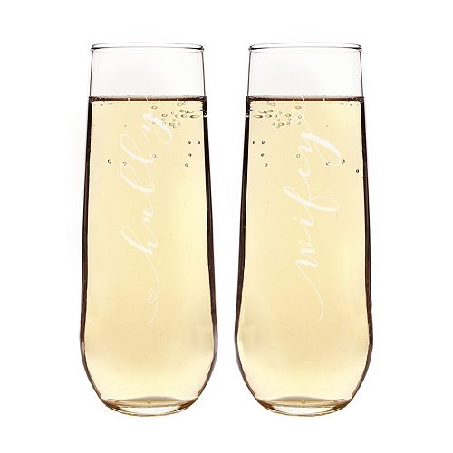 Cathy's Concepts 2-pc. Hubby & Wifey Stemless Champagne Flute Set