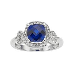Sterling Silver Lab-Created Blue & White Sapphire Square Halo Ring
