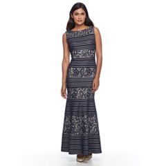 Petite Chaya Lace Striped Maxi Dress