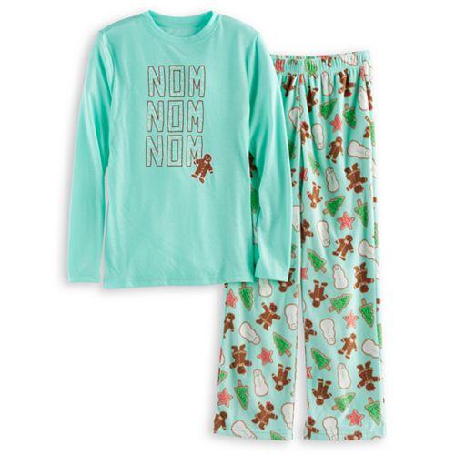 Boys 4-20 Jammies For Your Families Holiday Cookies Top & Fleece Bottoms Pajama Set