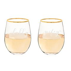 Cathy's Concepts 2 pc Hubby & Wifey Gold Rim Stemless Wine Glass Set