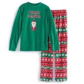 "Boys 4-20 Jammies For Your Families ""Team Santa"" Top & Microfleece Bottoms Pajama Set"
