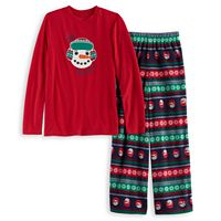 Boys 4-20 Jammies For Your Families Snowman Fairisle Top & Microfleece Bottoms Pajama Set