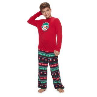 Boys 4-20 Jammies For Your Families Snowman Fairisle Top & Microfleece Bottoms Pajama Set