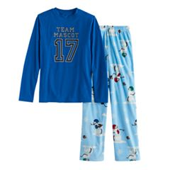 Boys 4-20 Jammies For Your Families 'Team Mascot' Top & Football Snowmen Fleece Bottoms Pajama Set