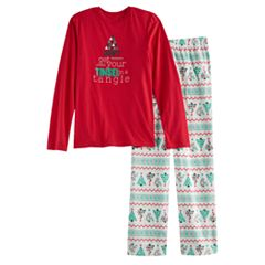 Boys 4-20 Jammies For Your Families 'Don't Get Your Tinsel in a Tangle' Top & Fleece Bottoms Pajama Set