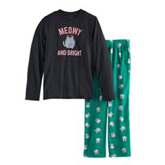 Boys 4-20 Jammies For Your Families 'Meowy Christmas' Top & Fleece Bottoms Pajama Set