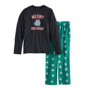 """Boys 4-20 Jammies For Your Families """"Meowy Christmas"""" Top & Fleece Bottoms Pajama Set"""