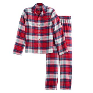 Boys 4-20 Jammies For Your Families Plaid Flannel Button-Front Top & Bottoms Pajama Set