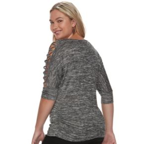 Juniors' Plus Size HeartSoul Lace-Up Sleeve Top