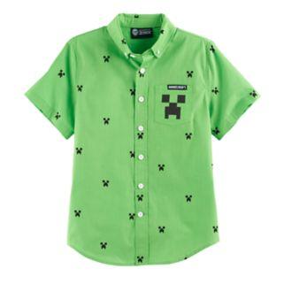 Boys 8-20 Minecraft Creeper Button-Down Shirt