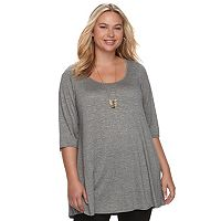 Juniors' Plus Size HeartSoul Lace-Up V-Back Tunic