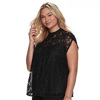Juniors' Plus Size HeartSoul Lace Swing Top