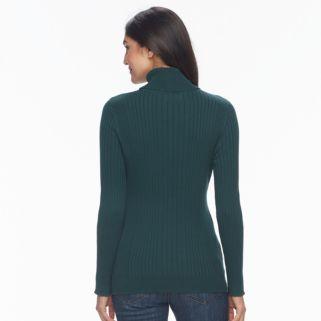 Women's Croft & Barrow® Essential Ribbed Turtleneck Sweater