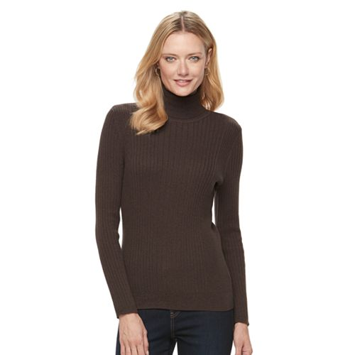 Women's Croft & Barrow® Essential Ribbed Turtleneck Sweater