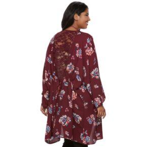 Junior's Plus Size HeartSoul Lace Trim Floral Kimono