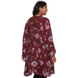 Junior's Plus Size Heart & Soul Lace Trim Floral Kimono