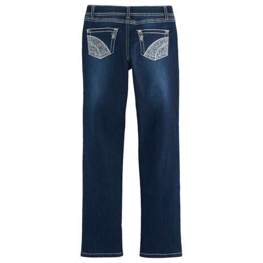 Girls 7-16 Freestyle Revolution Rhinestone Embellished Whiskered Bootcut Jeans
