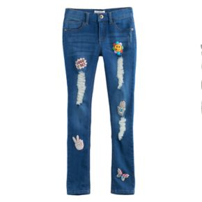 Girls 7-12 Freestyle Revolution Printed Patch Skinny Jeans