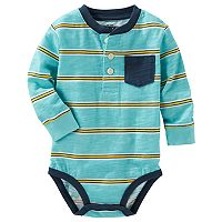 Baby Boy OshKosh B'gosh® Striped Slubbed Henley Bodysuit