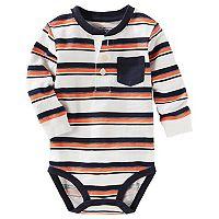 Baby Boy OshKosh B'gosh® Striped Slubbed Henley Bodysuit