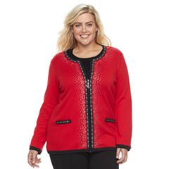 Plus Size Cathy Daniels Zip Front Embellished Cardigan