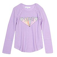 Girls 7-16 Harper & Elliott Lace Trim Textured Graphic Tee